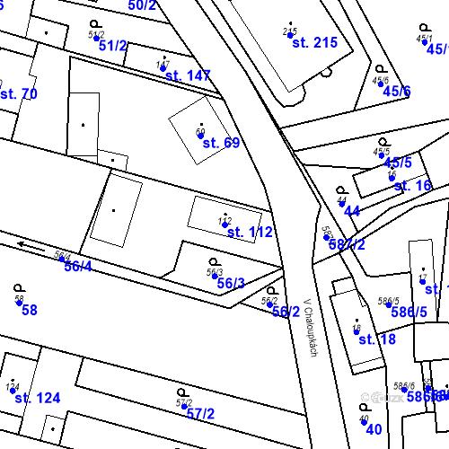 Katastrální mapa Parcela 112 na katastrálním území Srbsko u Karlštejna