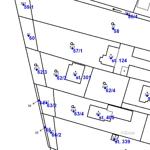 Katastrální mapa Parcela 301 na katastrálním území Srbsko u Karlštejna