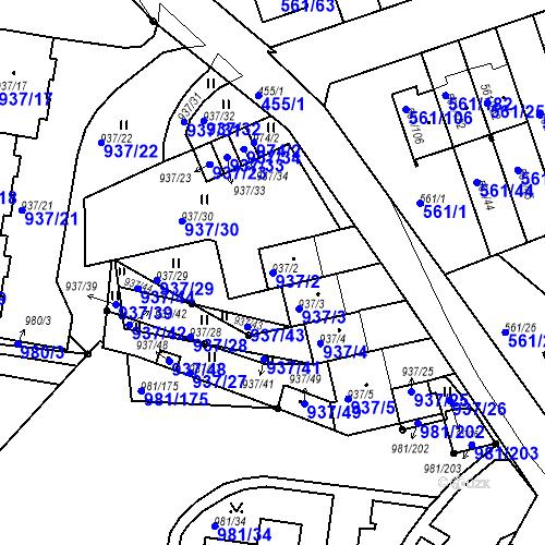 Katastrální mapa Parcela 937/2 na katastrálním území Chlumec u Chabařovic