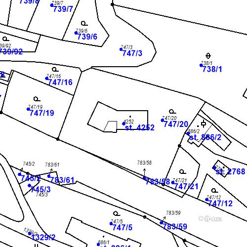 Katastrální mapa Parcela 4252 na katastrálním území Český Krumlov