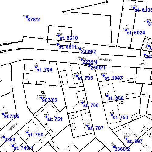 Katastrální mapa Parcela 705 na katastrálním území Beroun