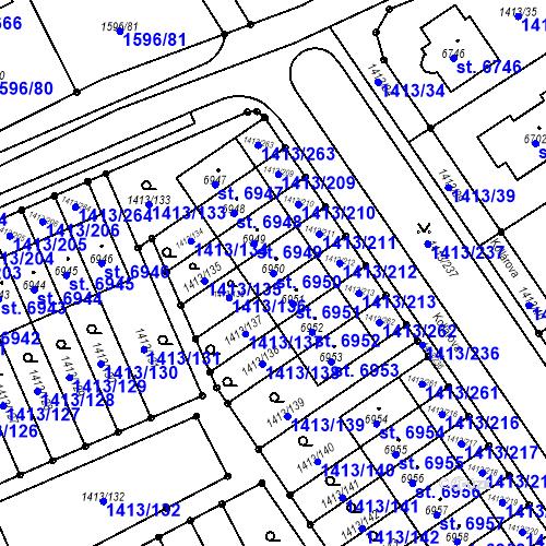 Katastrální mapa Parcela 6950 na katastrálním území Beroun