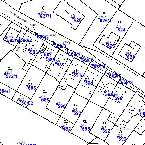 Katastrální mapa Parcela 591/1 na katastrálním území Bystřany