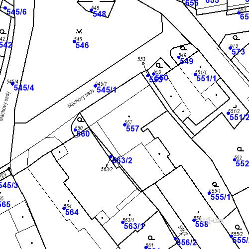 Katastrální mapa Parcela 557 na katastrálním území Bystřany