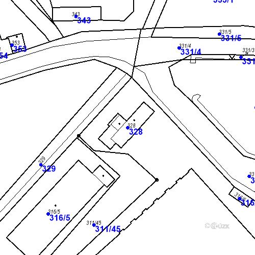 Katastrální mapa Parcela 328 na katastrálním území Bystřany