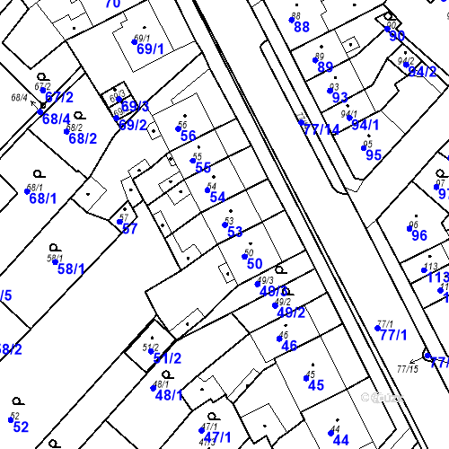 Katastrální mapa Parcela 53 na katastrálním území Bystřany