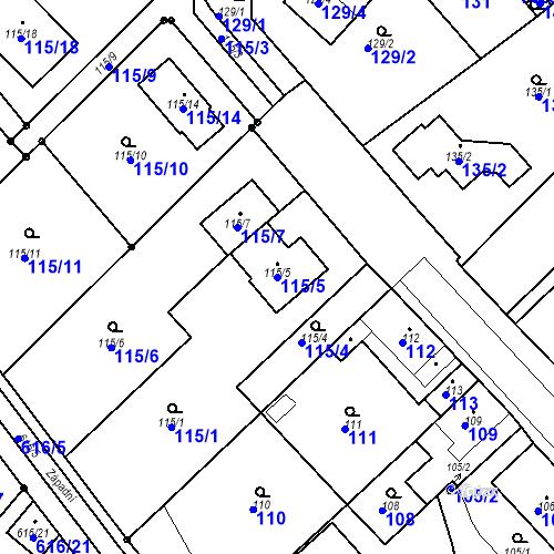 Katastrální mapa Parcela 115/5 na katastrálním území Bystřany-Světice
