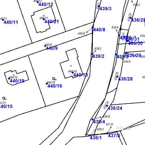 Katastrální mapa Parcela 440/18 na katastrálním území Dubno