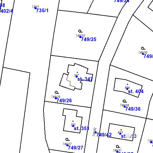 Katastrální mapa Parcela 347 na katastrálním území Chodouň