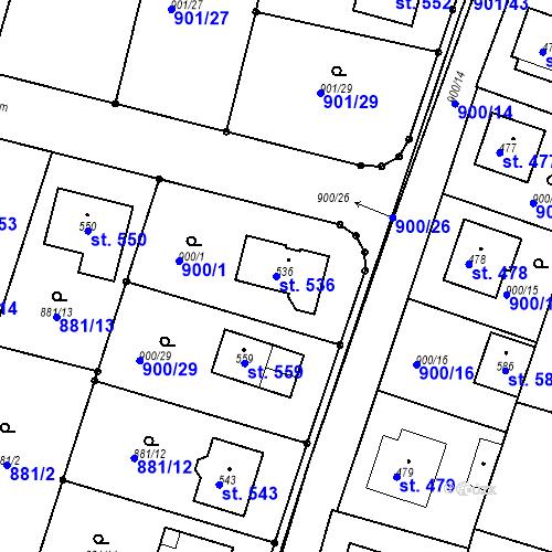 Katastrální mapa Parcela 536 na katastrálním území Mirotice