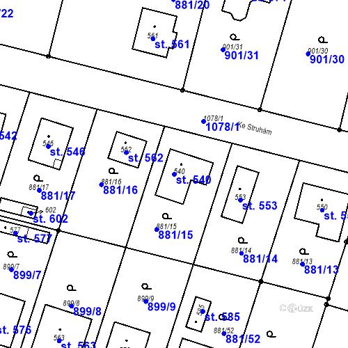 Katastrální mapa Parcela 540 na katastrálním území Mirotice