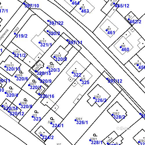 Katastrální mapa Parcela 322 na katastrálním území Bílina