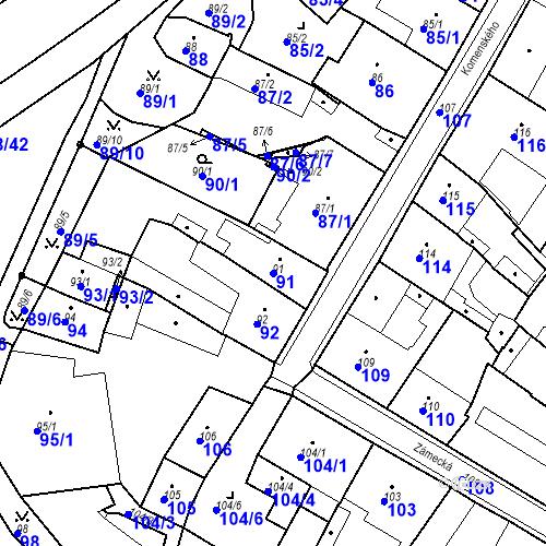 Katastrální mapa Parcela 91 na katastrálním území Bílina