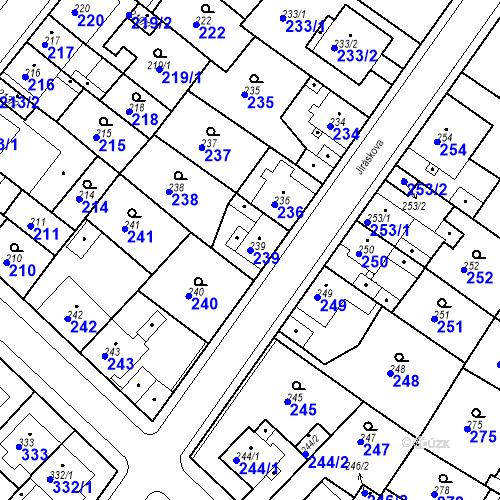 Katastrální mapa Parcela 239 na katastrálním území Bílina-Újezd