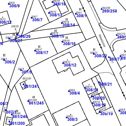 Katastrální mapa Parcela 308/12 na katastrálním území Bílina-Újezd