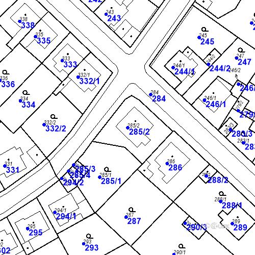 Katastrální mapa Parcela 285/2 na katastrálním území Bílina-Újezd