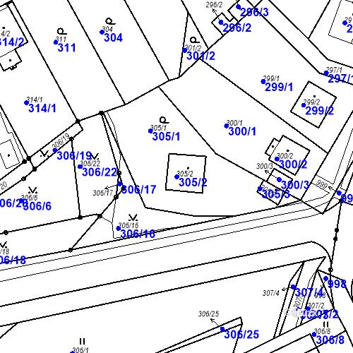 Katastrální mapa Parcela 305/2 na katastrálním území Bílina-Újezd