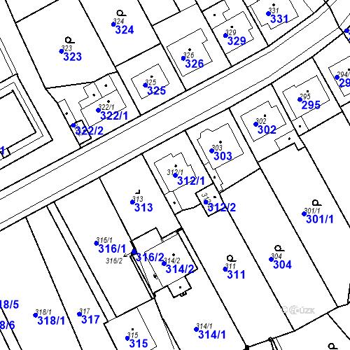 Katastrální mapa Parcela 312/1 na katastrálním území Bílina-Újezd