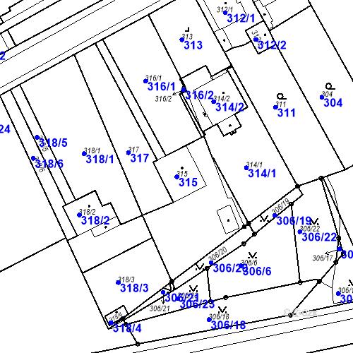 Katastrální mapa Parcela 315 na katastrálním území Bílina-Újezd