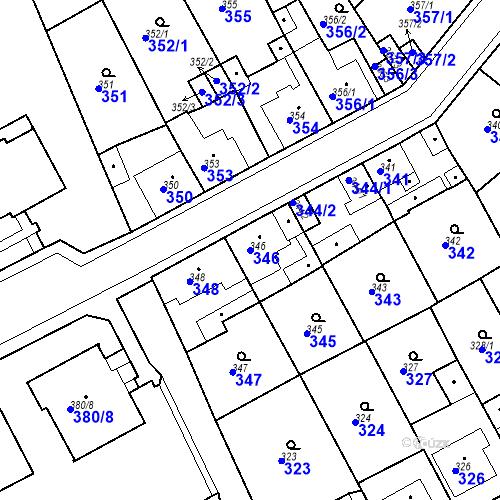 Katastrální mapa Parcela 346 na katastrálním území Bílina-Újezd