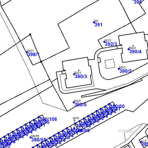 Katastrální mapa Parcela 390/3 na katastrálním území Bílina-Újezd