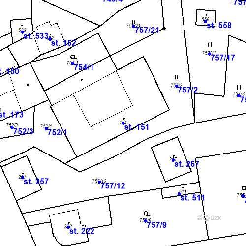 Katastrální mapa Parcela 151 na katastrálním území Strunkovice nad Blanicí