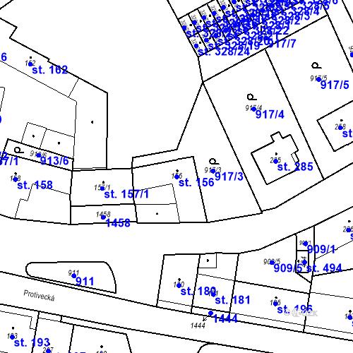 Katastrální mapa Parcela 156 na katastrálním území Strunkovice nad Blanicí
