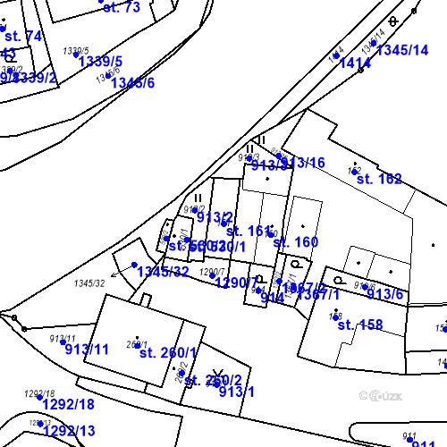 Katastrální mapa Parcela 161 na katastrálním území Strunkovice nad Blanicí