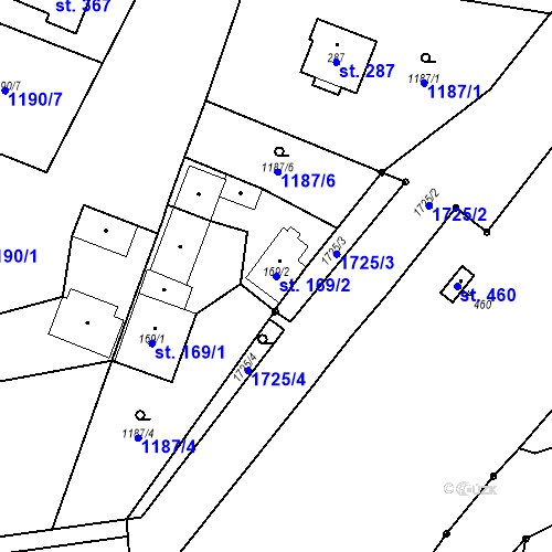 Katastrální mapa Parcela 169/2 na katastrálním území Bělčice