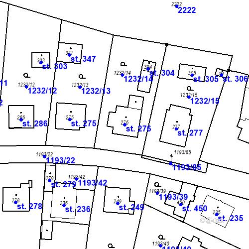 Katastrální mapa Parcela 276 na katastrálním území Bělčice