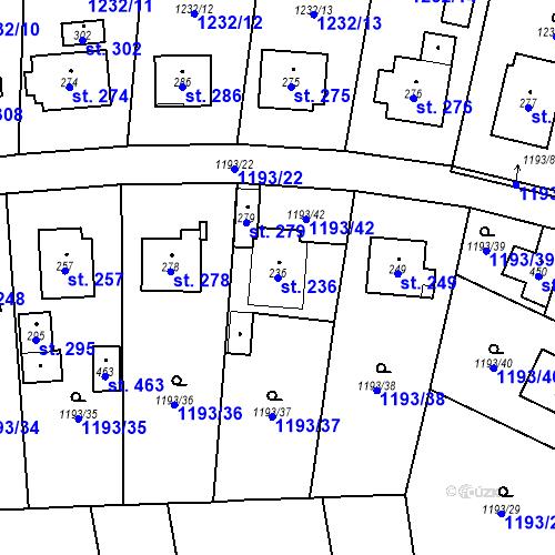 Katastrální mapa Parcela 236 na katastrálním území Bělčice