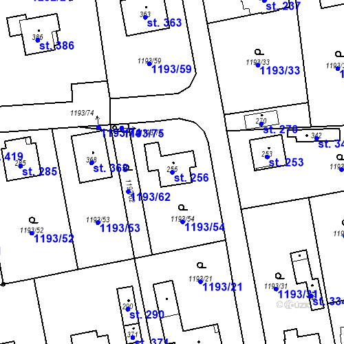 Katastrální mapa Parcela 256 na katastrálním území Bělčice