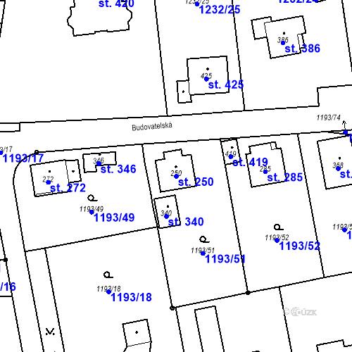 Katastrální mapa Parcela 250 na katastrálním území Bělčice