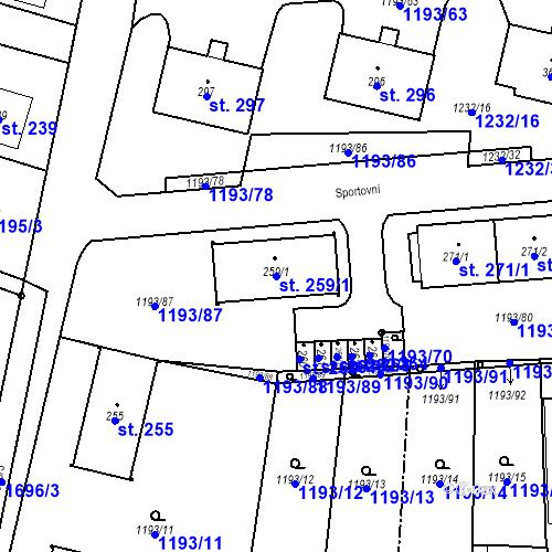 Katastrální mapa Parcela 259/1 na katastrálním území Bělčice