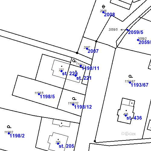 Katastrální mapa Parcela 221 na katastrálním území Bělčice
