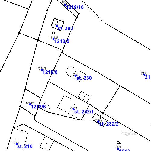 Katastrální mapa Parcela 230 na katastrálním území Bělčice