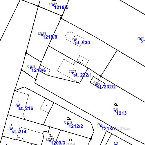 Katastrální mapa Parcela 232/1 na katastrálním území Bělčice