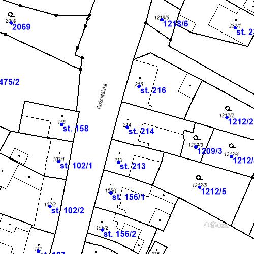 Katastrální mapa Parcela 214 na katastrálním území Bělčice