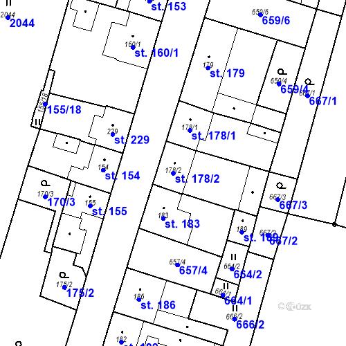Katastrální mapa Parcela 178/2 na katastrálním území Bělčice