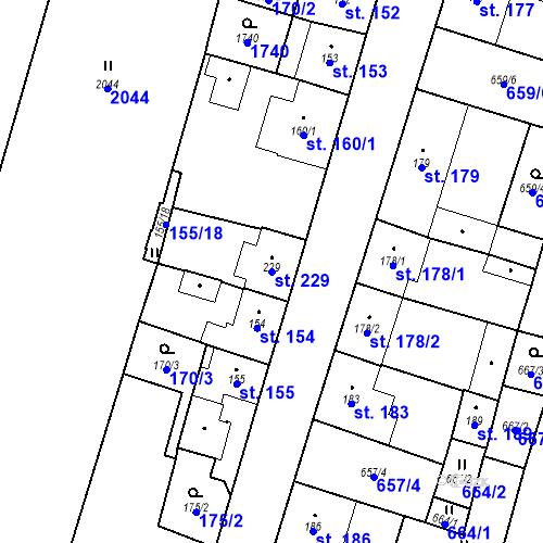 Katastrální mapa Parcela 229 na katastrálním území Bělčice