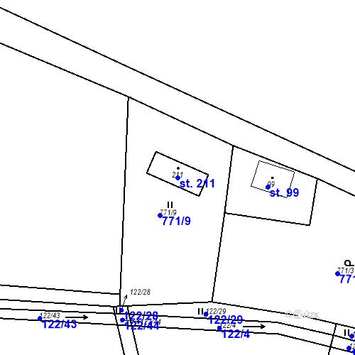 Katastrální mapa Parcela 211 na katastrálním území Nepomuk pod Třemšínem