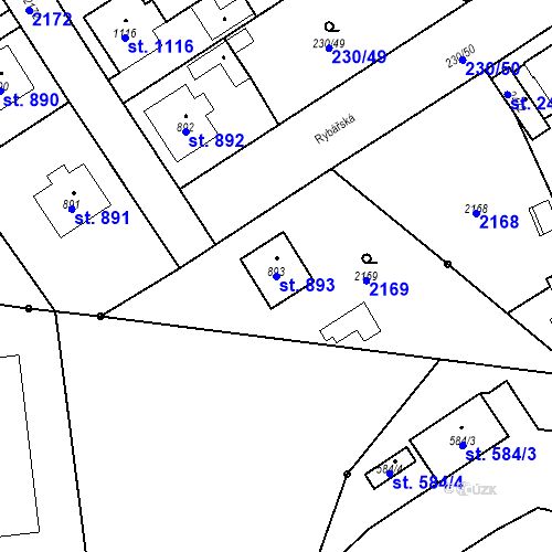 Katastrální mapa Parcela 893 na katastrálním území Blatná