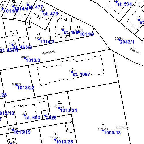 Katastrální mapa Parcela 1097 na katastrálním území Blatná