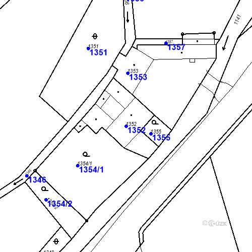Katastrální mapa Parcela 1352 na katastrálním území Jirkov