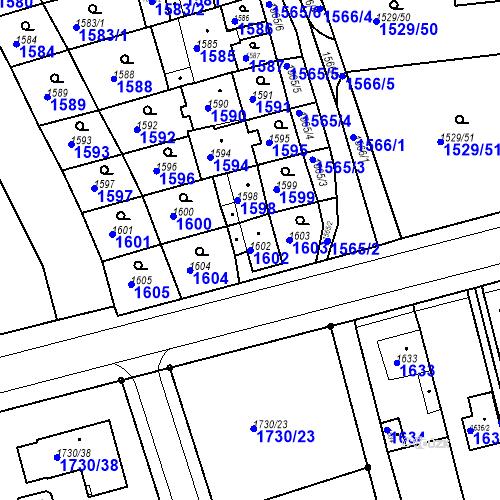 Katastrální mapa Parcela 1602 na katastrálním území Jirkov