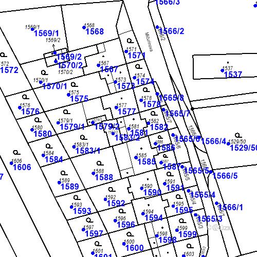 Katastrální mapa Parcela 1581 na katastrálním území Jirkov