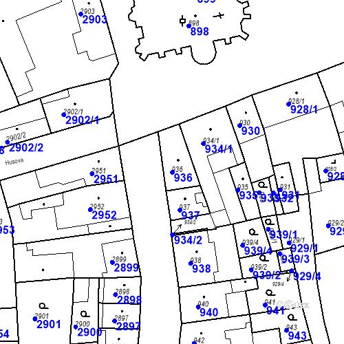 Katastrální mapa Parcela 936 na katastrálním území Jirkov