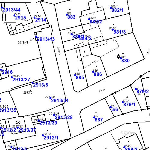 Katastrální mapa Parcela 885 na katastrálním území Jirkov
