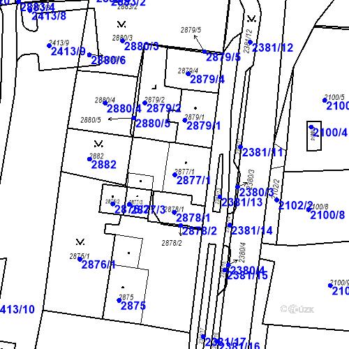 Katastrální mapa Parcela 2877/1 na katastrálním území Jirkov