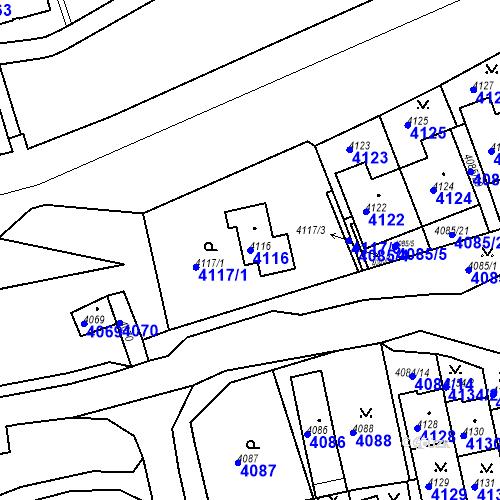 Katastrální mapa Parcela 4116 na katastrálním území Jirkov